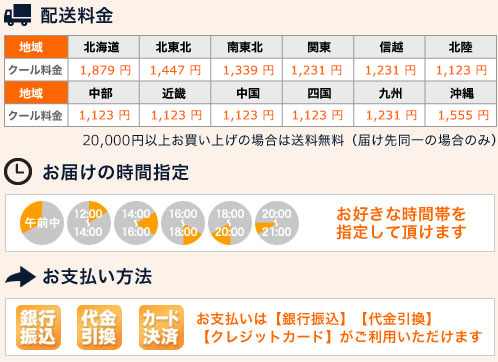 お取り寄せ配送料金、時間指定、お支払い方法